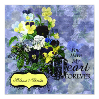 Pansies Heart Wedding Square Wedding Invitation
