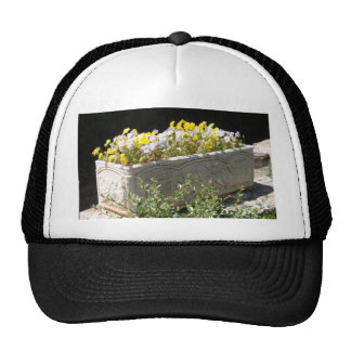 Pansies In A Sarcophagus Planter Trucker Hats
