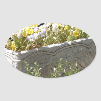 Pansies In A Sarcophagus Planter Oval Sticker