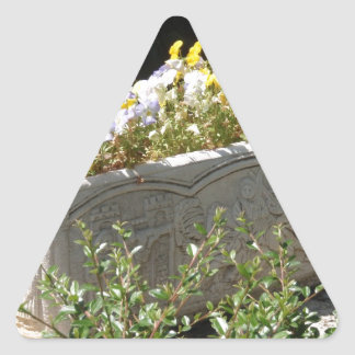 Pansies In A Sarcophagus Planter Triangle Sticker
