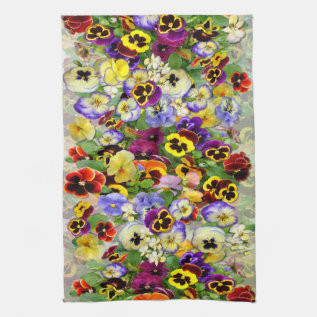 Pansies ~ Kitchen Towel at Zazzle