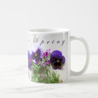 Pansies, lobelia on old handwriting Hello Spring Coffee Mug