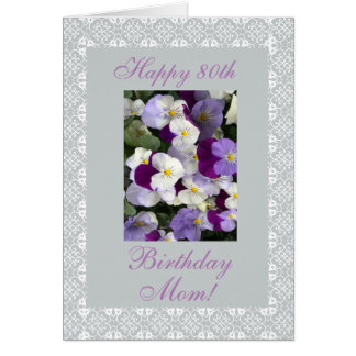 Pansies - Mother's 80th birthday Card