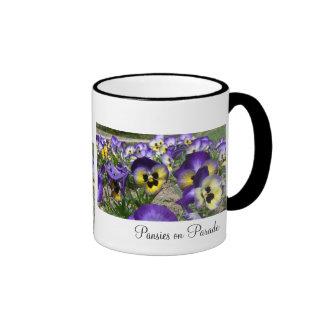 Pansies on Parade Ringer Coffee Mug
