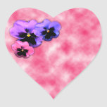 Pansies on Pink Heart Sticker
