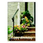 Pansies on Steps - Birthday Card