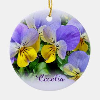 Pansies - Purple and Yellow Ceramic Ornament
