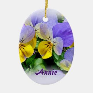 Pansies - Purple asnd Yellow Ceramic Ornament