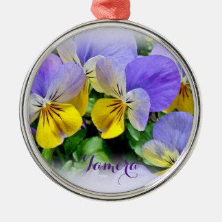 Pansies - Purple asnd Yellow Metal Ornament