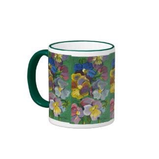 Pansies Ringer Coffee Mug
