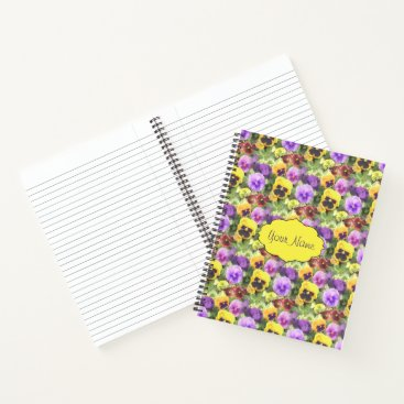 Beach Themed Pansies Watercolor Notebook
