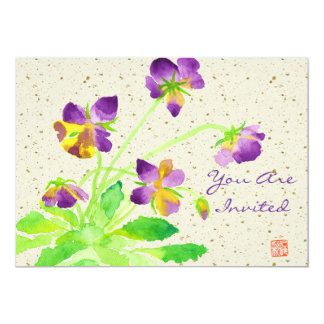 Pansies Watercolor Painting Purple Yellow Washi Card