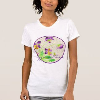 Pansies Watercolor Painting Purple Yellow Washi T-Shirt