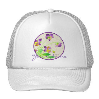 Pansies Watercolor Painting Purple Yellow Washi Trucker Hat