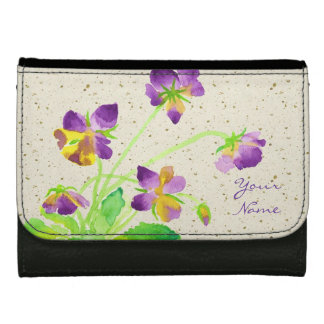 Pansies Watercolor Painting Purple Yellow Washi Wallet