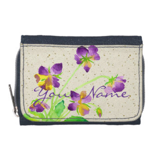 Pansies Watercolor Painting Purple Yellow Washi Wallets