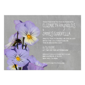 Pansies Wedding Invitations Personalized Invites
