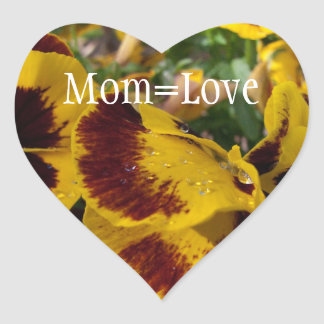 Pansies with Water Droplets; Happy Mother's Day Heart Stickers