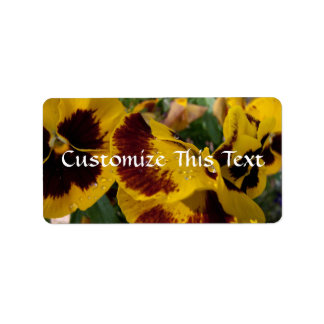 Pansies with Water Droplets Label
