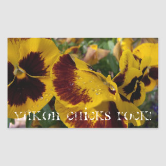 Pansies with Water Droplets; Yukon Chicks ROCK! Sticker