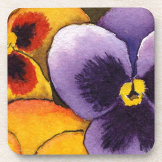 """Pansy #1"" Floral Coaster Set"