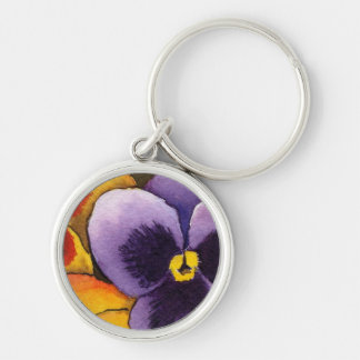 """""""Pansy 1"""" Floral Keychain"""