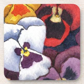 """Pansy #2"" Floral Coaster Set"