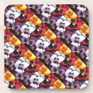 """Pansy #2 Tiled Pattern"" Floral Coaster Set"