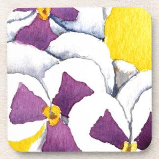 """Pansy #4"" Floral Coaster Set"
