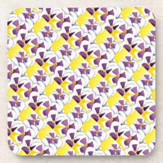 """Pansy #4 Tiled Pattern"" Floral Coaster Set"