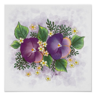 Pansy Acrylic Painting Poster