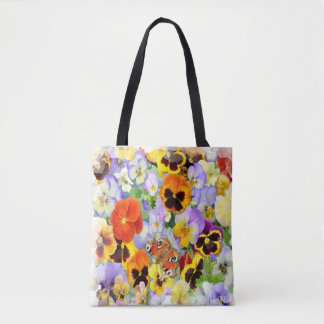 Pansy and Butterfly Tote Bag