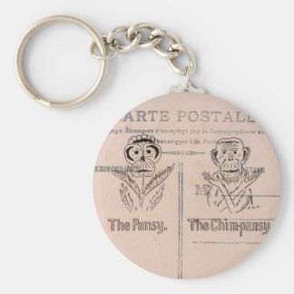 Pansy and Chimp Humor Basic Round Button Keychain