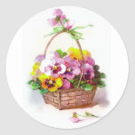 Pansy Basket Classic Round Sticker