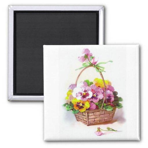 Pansy basket refrigerator magnet zazzle
