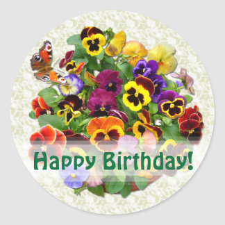 PANSY BEAUTY ~ Birthday  Envelope Sealers/Stickers Classic Round Sticker