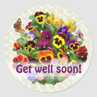 "PANSY BEAUTY ~  ""Get well""   Envelope Sealers Classic Round Sticker"