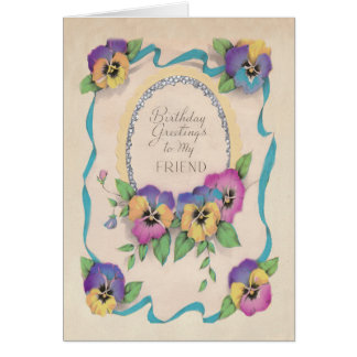 Pansy Birthday Card. Greeting Card