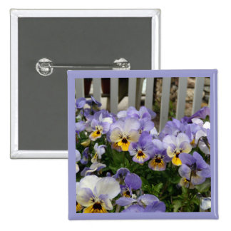 Pansy Blues Fence Pinback Buttons