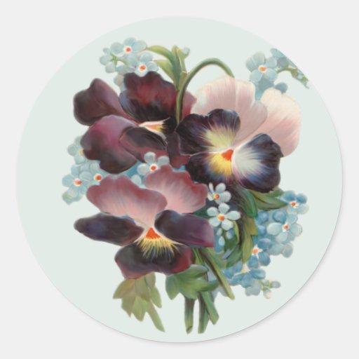Pansy Bouquet Classic Round Sticker
