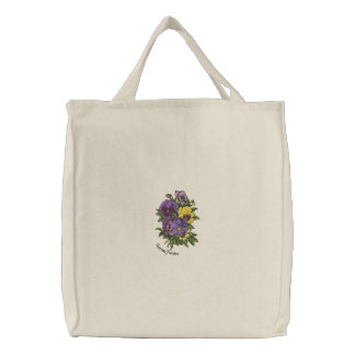 Pansy bouquet embroidered tote bag