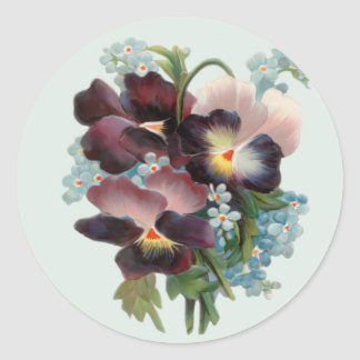Pansy Bouquet Round Stickers