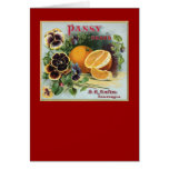 Pansy Brand Oranges Fruit Label Card