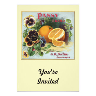 "Pansy Brand Oranges Fruit Label 5"" X 7"" Invitation Card"