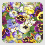 Pansy Cascade Square Stickers