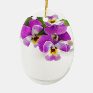 pansy ceramic ornament