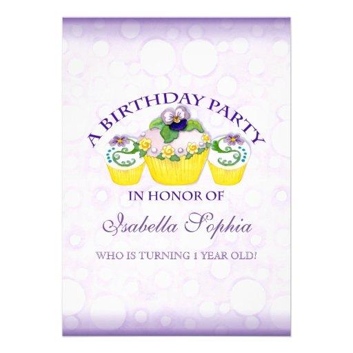 Pansy Cupcakes Girl  Birthday Party Invitation