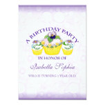 Pansy Cupcakes Girl  Birthday Party Invitation