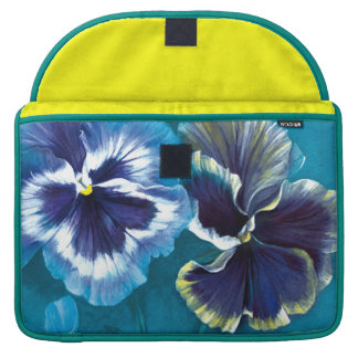 "Pansy floral aqua MacBook 15"" flap case"