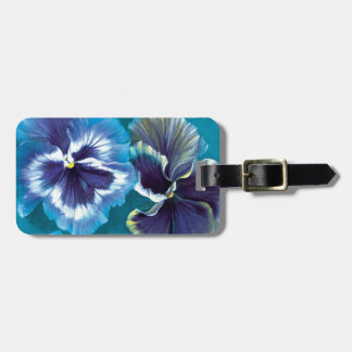 Pansy floral fine art botanical named luggage tag